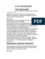 List of Philosphers