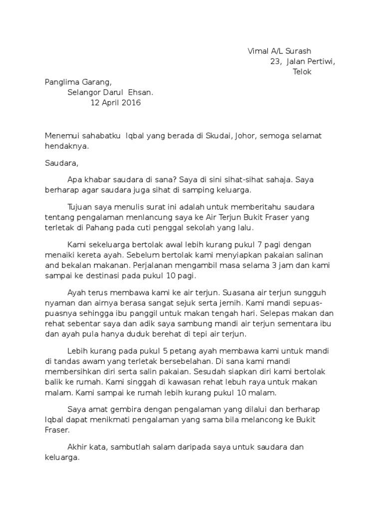 Surat Kiriman Tidak Rasmi Kepada Kawan Docx