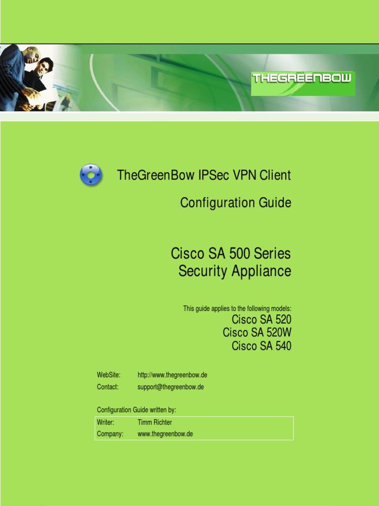Cisco SA 500 VPN Security Appliance & GreenBow IPSec VPN