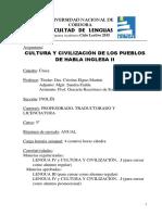 Cultura y Civilizacion de Los Pueblos de Habla Inglesa II - Ingles