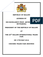 President Peter Mutharika's Speech at the 28th Malawi International Trade Fair on 17th May 2016 - Chichiri Trade Fair Grounds in Blantyre