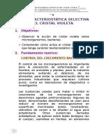 Acción bacteriostatica selectiva del Cristal Violeta