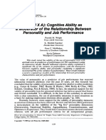 P = f (M X A) Cognitive Ability as a  Moderator of the Relationship Between Personality and Job Performance