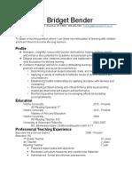 bridget bender  resume