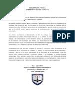 Declaración Pública Movilización Santiago