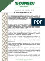 Resolución 4 - El Proceso electoral 2010- 2010