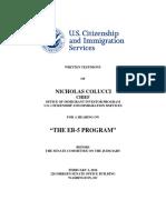 02 02 16 Nicholas Colucci Senate Judiciary Committee Testimony on EB-5 Visas