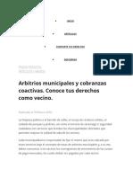 Arbitrios Municipales y Cobranzas Coactivas