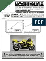 Yoshimura Rs3 Slip on Exhaust Honda Cbr600 f4 i20012006