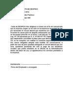 Modelo de Carta de Despido