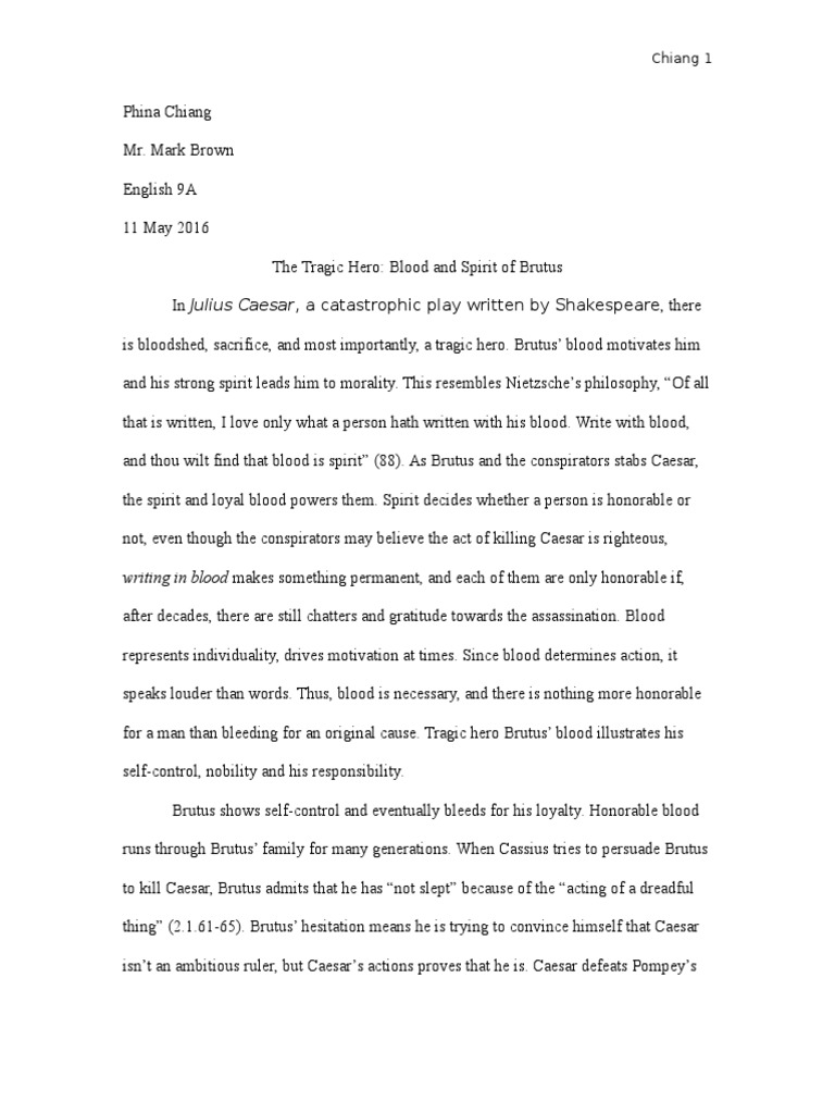 essay about brutus as the tragic hero