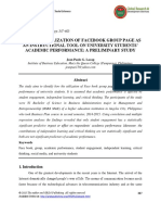 Impact of Utilization of Facebook Group Page as an Instructional Tool on University Students Academic Performance- A Preliminary Study