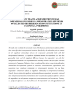 Personality Traits and Entrepreneurial Intentions of Business Administration Students of Selected Higher Education Institutions in Pampanga Philippines