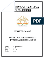 Chemistry Investigatory Project on Evaporation of Liquid