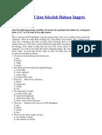 Soal Ujian Sekolah Bahasa Inggris SD Kelas 6