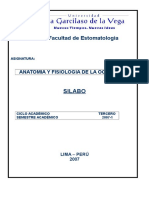 Silabo de Anatomia y Fisiologia de La Oclusion