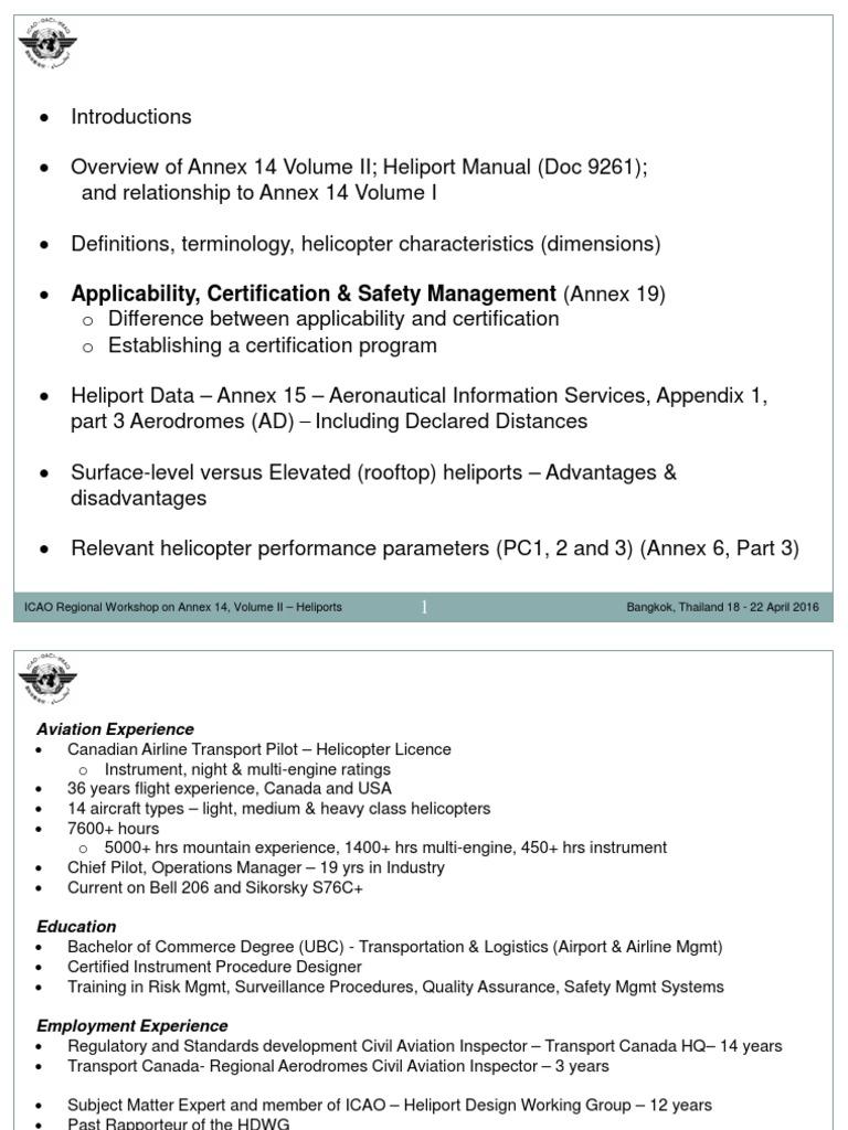 ICAO Bangkok 2016 1 Overview Certification Applicability | Aviation |  Aeronautics