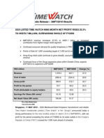Time Watch Investment - 9 M2010 Press Release
