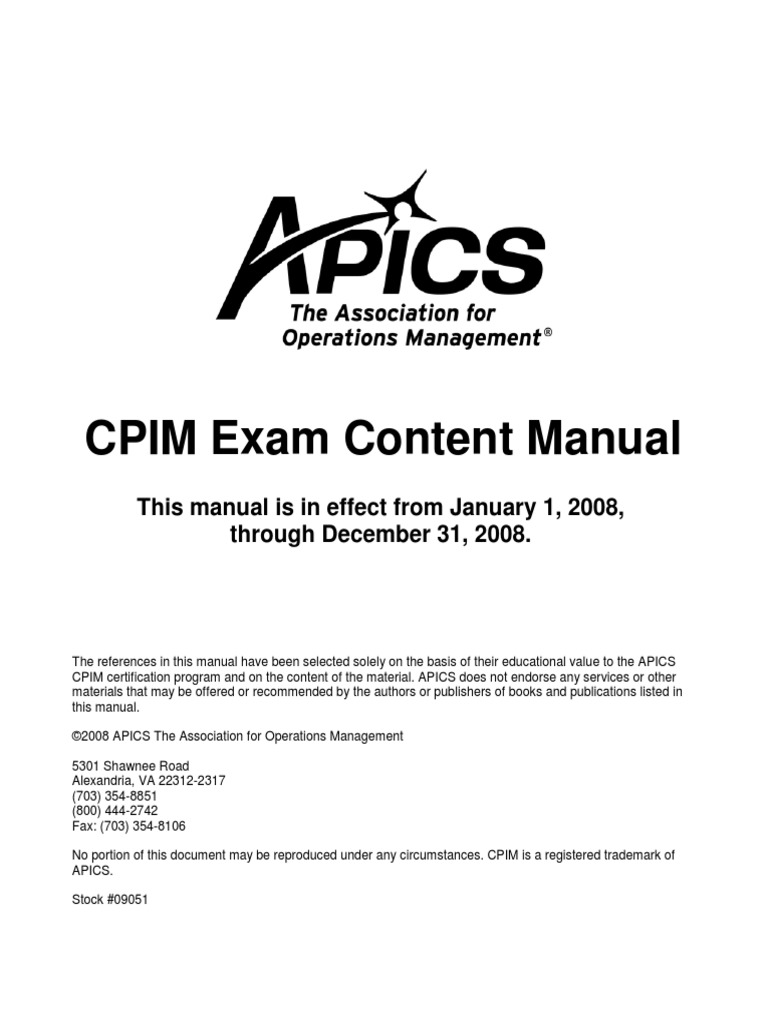 2008 cpim exam content manual test assessment inventory xflitez Choice Image