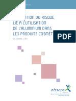 evaluation du risque lie a l'utilisation de l'aluminium dans les produits cosmetiques