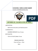 Informe de Valorizacion de Obra Mes de Abril. Vilca Avalos Jhulino