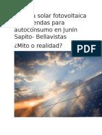 Energía Solar Fotovoltaica en Viviendas Para Autoconsumo en Junín Sapito