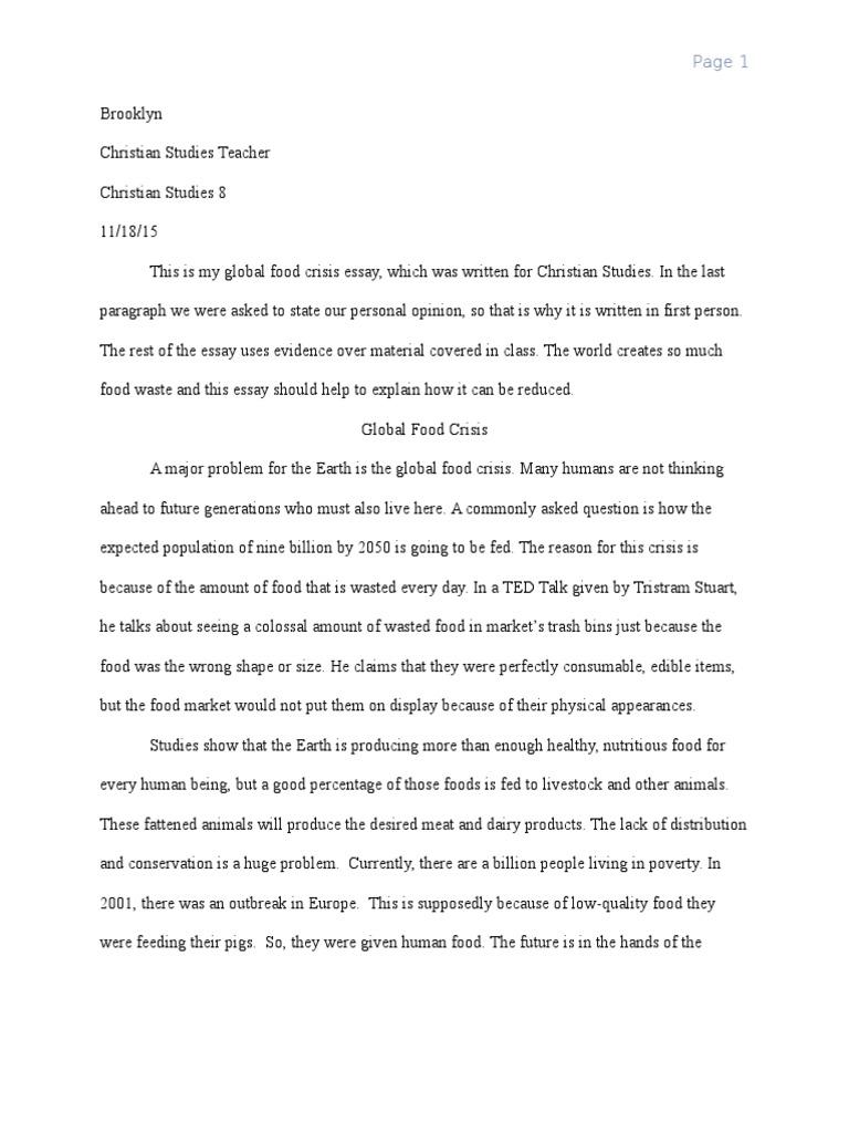 Food crisis essay