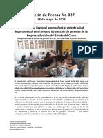 Boletín 027 Procuraduría Regional Acompañará Al Ente de Salud Departamental en El Proceso de Elección de Gerentes de Las Empresas Sociales Del Estado Del Cauca