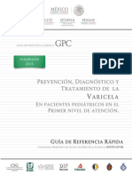 Guia de Referencia rapida Varicela, Actualizacion 2015