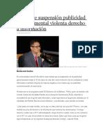Peña Dice Suspensión Publicidad Gubernamental Violenta Derecho a Información