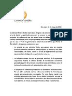 Comunicado Cámara Minera de San Juan