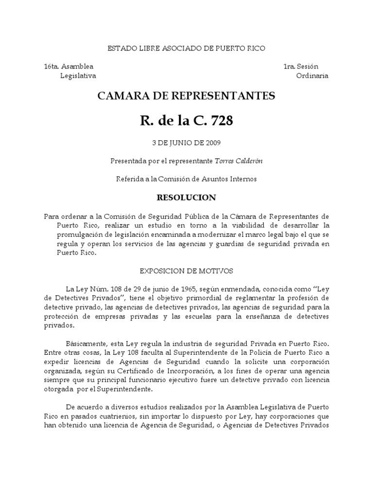 Enmienda A La Ley 108pdf Investigador Privado Puerto Rico