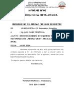INFORME  DE ELECTROMETALURGIA