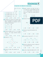 Ficha de Trabajo Multiplicación de Números Naturales DProCuI