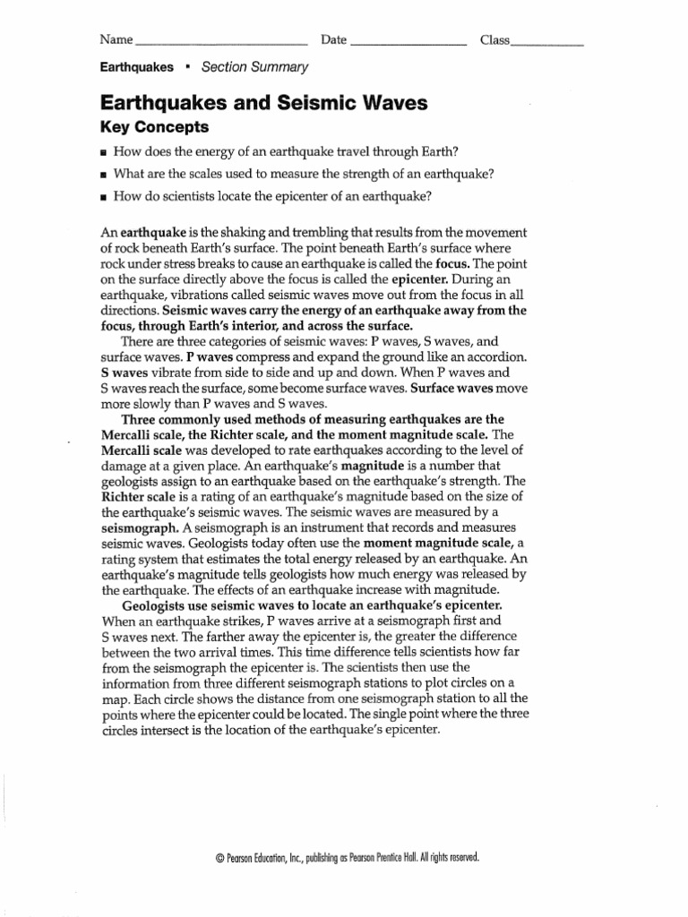 Earthquakes Seismic Waves Worksheet Pdf