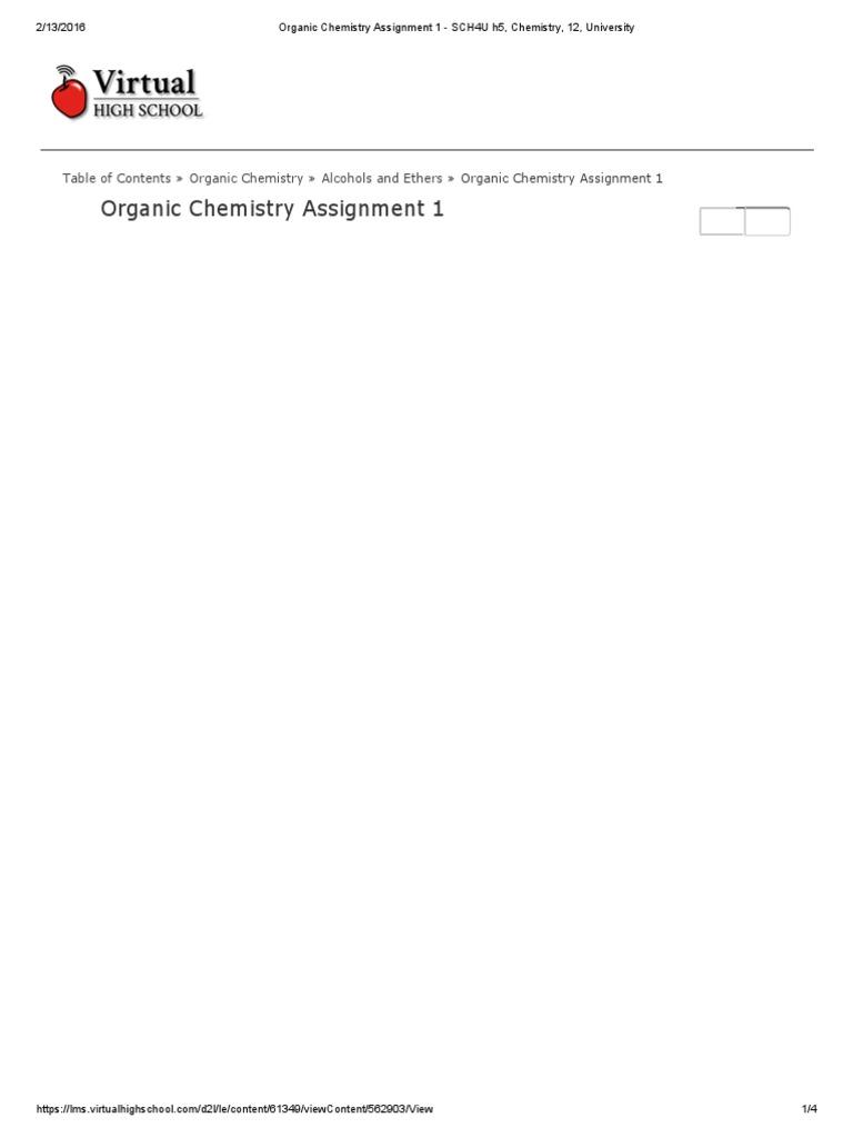 organic chemistry assignment schu h chemistry university