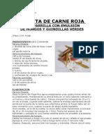 CHULETA DE CARNE ROJA A LA PARRILLA CON EMULSIÓN DE HONGOS Y GUINDILLAS VERDES