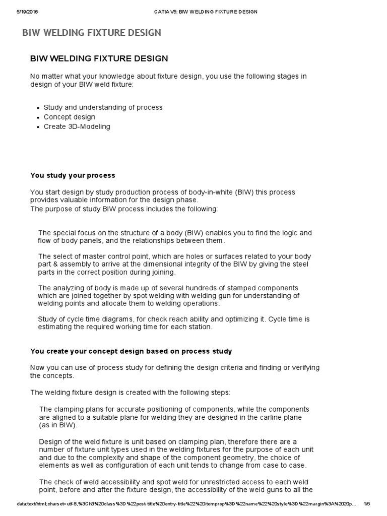 Catia v5_ Biw Welding Fixture Design | Welding | Engineering
