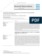Contribuciones de La Psicología Comunitaria Al Estudio de Las Desigualdades Sociales, El Bienestar y La Justicia Social