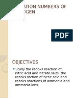 Oxidation Numbers of Nitrogen