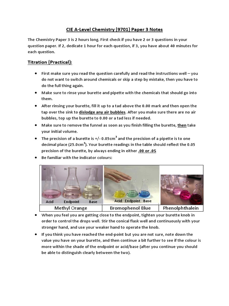 CIE Chemistry 9701 AS / A Level Paper 3 Notes | Titration