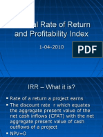 Internal Rate of Return and Profitability Index