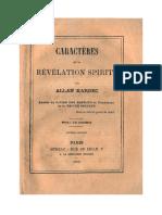 Spiritisme Caractères de La Révélation Spirite Par Allan Kardec 1870Doc1
