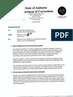 Memorandum from Jefferson S. Dunn, Commissioner, Alabama Department of Corrections, to Arnold Mooney, Member, Alabama House of Representatives (Apr. 20, 2016)