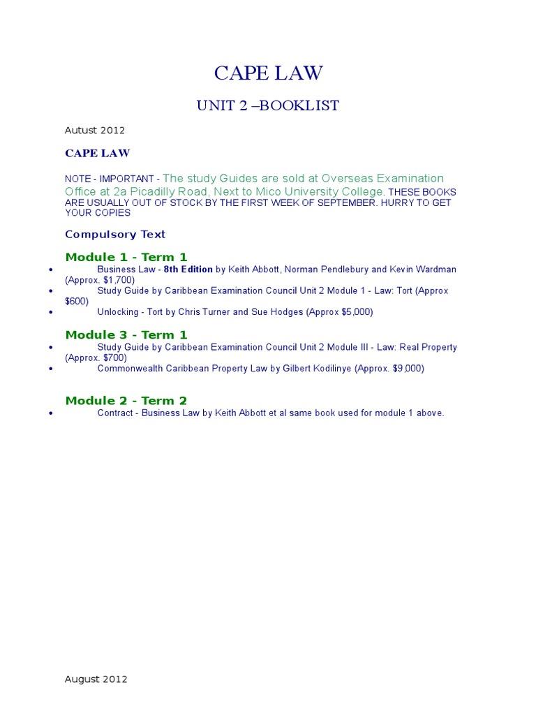 cape law booklist unit 2 rh scribd com Math Unit 2 Study Guide Biology Unit 2 Study Guide