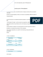 Report for the Laboratory Part of Petrophysics ANICIC