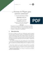 El Teorema de Wigner Para Matrices Aleatorias