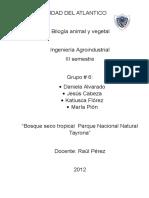 Informe de biología vegetal y animal en el parque Tayrona