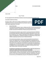 Letter to President Barack Obama regarding the Guantanamo Bay Detention Camp