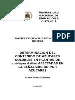 DETERMINACIÓN DEL CONTENIDO DE AZÚCARES SOLUBLES EN PLANTAS DE Arabidopsis thaliana AFECTADAS EN LA SEÑALIZACIÓN POR AZÚCARES